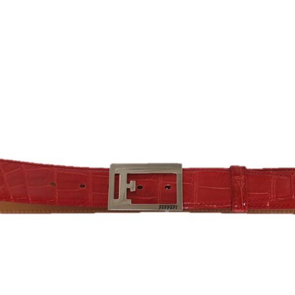 comprare on line e52da ca3e8 Cintura uomo in vera pelle alligatore rossa